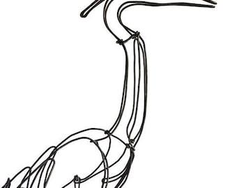 Blue Heron Wire Sculpture, Bird Wire Art, Folk Art, 551361945
