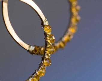 Citrine Earrings, Gold Hoops, Citrine Hoops, Raw Gemstone, Valentines Day gift - Bohemian Wedding, Fall Wedding - Raindrops
