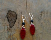 RED EARRINGS, Red Jewelry, Red Briolette Earrings, Leverback, Pierced Earrings, Shop For A Cause, Stylish Gifts, Fashion, Black Lava Stone