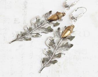 Long Silver Plated Oak Leaf Dangle Earrings