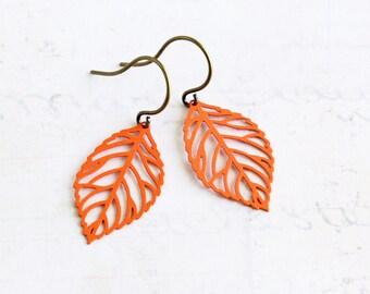 Small Orange Filigree Leaf Dangle Earrings with Antiqued Brass Hooks