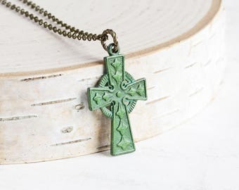 Small Aged Green Patina Ornate Cross Pendant Necklace on Antiqued Brass Chain (Hand Patina)