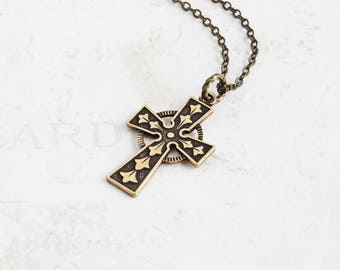Small Antiqued Brass Ornate Cross Pendant Necklace