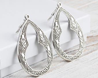 Large Antiqued Silver Plated Moroccan Style Teardrop Earrings
