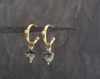Trillion pyrite earrings, dainty hoops, minimalist dangle, faceted pyrite drop, sparkle plenty, everyday small earrings, tiny hoops