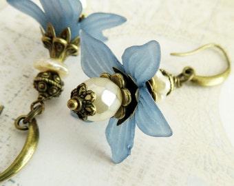 Big blue flower earrings, rustic dangle earrings, gift for wife, floral jewelry, drop earrings, mom gift