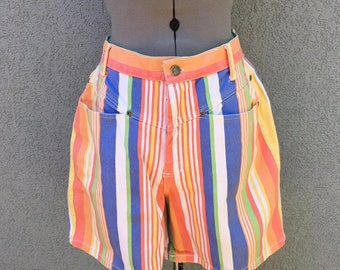Vintage 90s High Waisted Striped Denim Shorts, Women's Shorts, Jean Shorts, Multicolor Shorts, Size 31