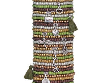 Beaded Bracelets Set of 30 Seed Bead Stretch Bracelets Bohemian Themed Stack with Charms and Tassels