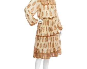 Vintage 70's Indian Sheer Ethnic Floral Paisley Cotton Gauze BALLOON Sleeves Empire Waist Hippie Boho Gypsy Festival Tiered Midi DRESS