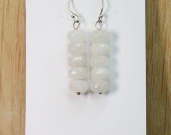 White Quartz Crystal with Sterling Silver E hook earrings  E2173