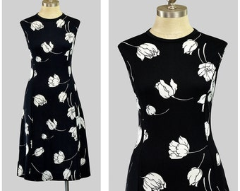 Vintage 70s Floral Dress | Black and White Mod Dress | Sleeveless Shift Dress | A Line Flare Dress | 1970s Summer Sundress | M Medium