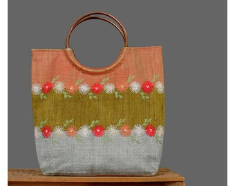 Tote Handbag Pearl Beaded Floral Embroidered Purse Orange Red Grey Olive Green Striped Color Block Copper Circle Handle Bag