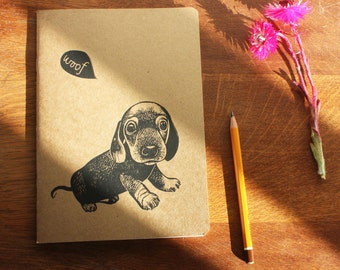 Sausage Dog, Valentine's Gift, sketchbook, A5 Recycled Notebook, Plain White Pages, Hand Printed Linocut, Printmaking, UK Free POstage