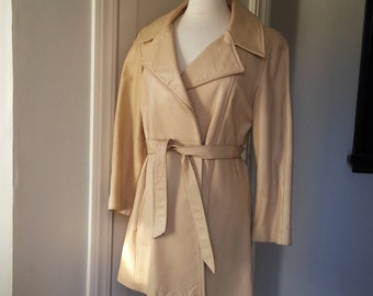 Vintage 80's Beige Leather Trench Coat New England Sportwear