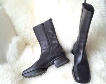 Black Boots 7.5 38 90s Vintage Prada Geisha Boots Square Toe Chunky Heel Platform Boots Glam Cyber Goth Minimalist Designer Italy Tall Boots
