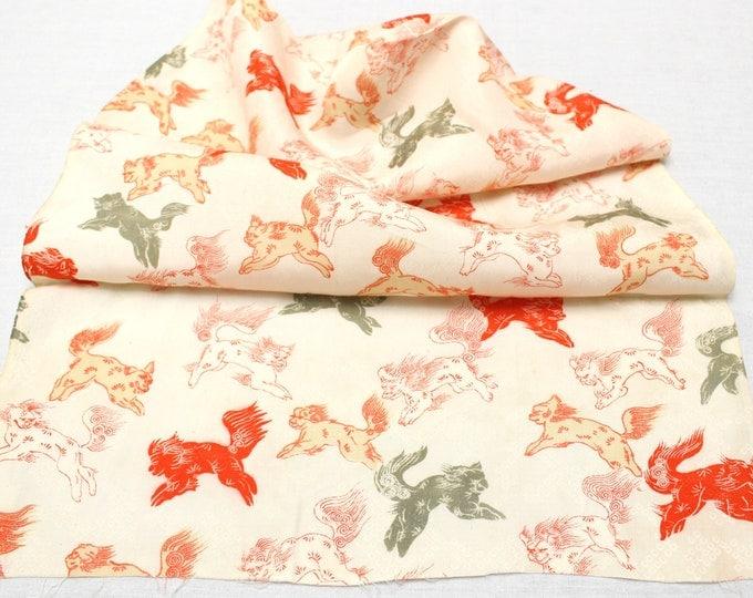 Vintage Japanese Silk. Fabric Scrap Orange Green Dogs(Ref: 1873)