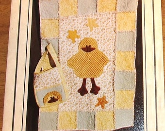 Pearl Louise Designs Craft Sewing Pattern 412 Rag Patch Baby Quilt, Lil Lucky Ducky Applique Coverlet Blanket, Diaper Bag, Tote, Uncut FF