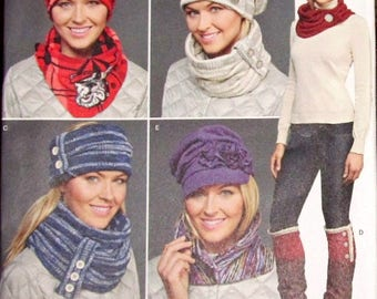 Elaine Heigl Simplicity Knits Only Craft Sewing Pattern 8036 Womens Misses Slouch Cap Hat Slouchy Cowl Cuff Collar Scarf Headband Uncut FF