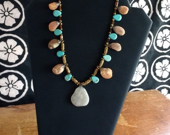 Natural Stone Necklace with Turquoise and Bronze Accents