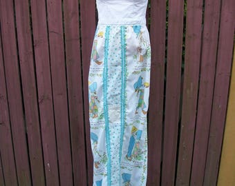 BOHO Maxi Dress Holly Hobbie-Upcycled Patchwork Strapless-Gypsy Festival Clothing-Cowgirl Chic-Size Small