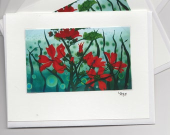 Nate's Red Flowers Blank Greeting Card