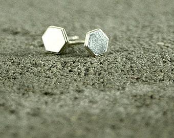 Hexagon Silver Stud Earrings, Silver Earrings,Geometric Earrings,Urban Chic,trendy Earrings,stack earrings,silver jewelry,trendy jewelry
