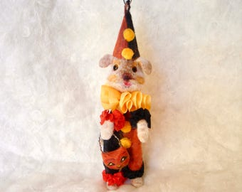 Spun cotton Halloween Dog in a clown suit OOAK vintage craft ornament by jejeMae