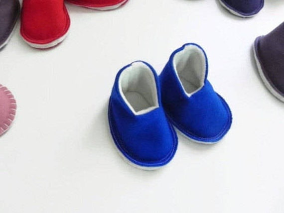 Last Pair! - Blue MINI HIGH TOPS Plain and Simple - Baby Booties - New Baby Gift - Felt Slippers - Shoes - 0-6 Months