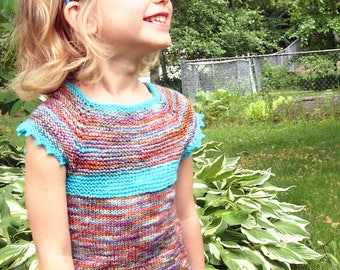 PDF Pattern - Pinnet Tunic - Knitted Girls Tunic Shirt - Baby, toddler, child sizing - Instant Download