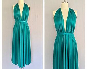 Emerald Nights dress   1970s halter neck maxi dress   70s disco dress   m