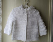 Soft White Vintage Handknit Sweater / Cozy Spring Cardigan Sweater with hood / Baby size 6 to 12 months