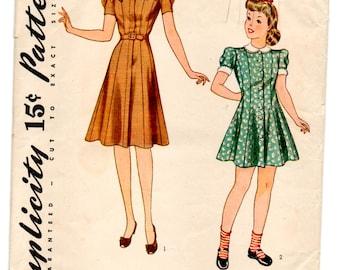 1940's Simplicity Girl's One-Piece Princess Dress Pattern - 10 years - UC/FF- No. 3667