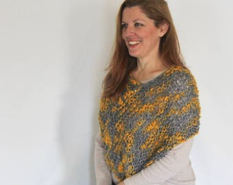 Grey and yellow poncho, loose knit poncho, Eudora