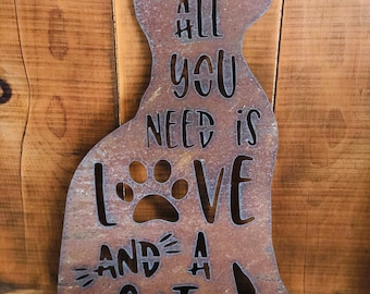 """All You Need is Love and a Cat - 18"""" Rusty Metal CAT -  For Art, Sign, Decor - Make your own DIY Gift!"""