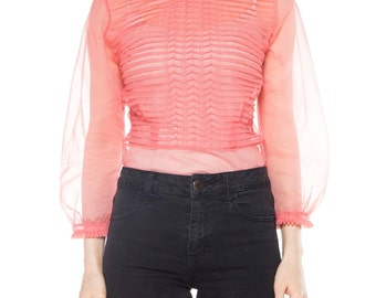 Pink Pleated And Ruffled Long Sleeve Top Size: 4