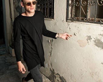Futuristic fashion tunic for men with triple layered organic cotton