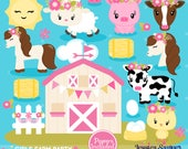 INSTANT DOWNLOAD - Girls Farm Clipart and Vectors