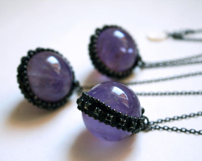Amethyst Crystal Ball Necklace