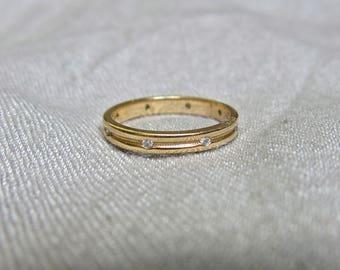50s Diamond and 14K Gold Eternity Ring - Beautiful Milgrain Detailing