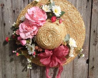 Summer Garden Hat, Spring Straw Hat with Pink Roses, Wreath Alternative, Front Door Decor, Garden Accessory,  Spring Garden Hat, Easter
