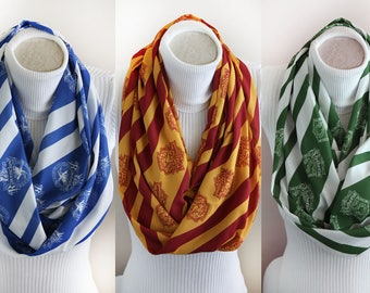 Harry Potter Scarf Hogwarts Gryffindor Scarf Slytherin Ravenclaw Diadem Hufflepuff Infinity Scarf Harry Potter Gift Harry Potter Party
