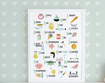 Alphabet Nursery wall art, nursery decor, alphabet poster, kids room decor, alphabet print