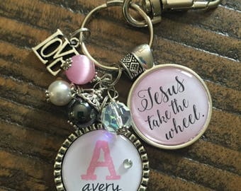 JESUS take the wheel PERSONALIZED watercolor blue keychain, Custom name initial monogram necklace, Sweet 16 gift, New driver key chain, car