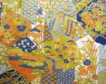 Vintage Japanese tsumugi raw silk kimono fabric