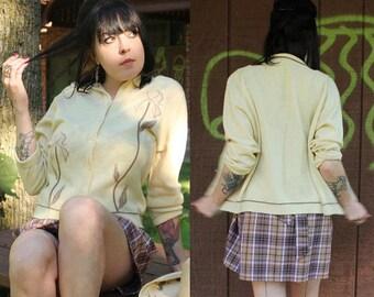 "60s Cardigan Sweater PINK IRIS Button Up ""Garland DreamSpun"" Vintage Wool Knit CARDI Cross stitch appliqué Floral Weave Woman Top Size Large"