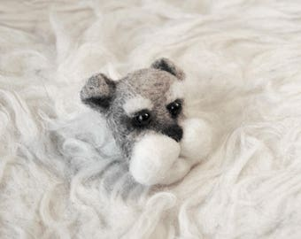 Miniature Schnauzer Puppy Brooch, Needle Felted Schnauzer, Felt Dog Pin, Schnauzer Jewelry