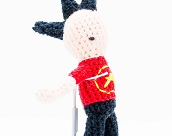 Punk with Black Mohawk and Anarchy T-Shirt Stuffed Toy - Amigurumi Punk Rocker - Crochet Punk Stuffed Creature - Santa Doll