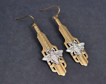 Vintage Earrings Art Deco Earrings Honey Bee Earrings Long Art Deco Earrings Handmade Jewelry