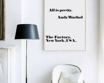 andy warhol print all is pretty - andy warhol all is pretty. Pop art, quote prints.