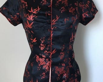 """Silk Cheongsam blouse Embossed satin Traditional Chinese blouse Mandarin Collar Frog Closures chest 38"""" gift for her"""